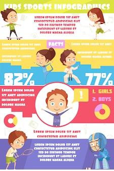 Crianças esporte infográficos