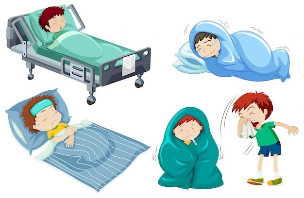 Crianças estar doente na cama