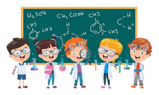 Crianças estudando aula de química