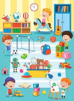 Crianças estudando e brincando na sala de aula pré-escolar