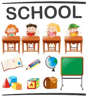 Crianças estudando e objetos escolares
