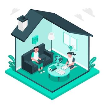 Crianças estudando em casa conceito ilustração
