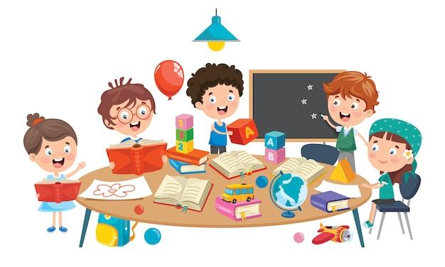 Crianças estudando em sala de aula