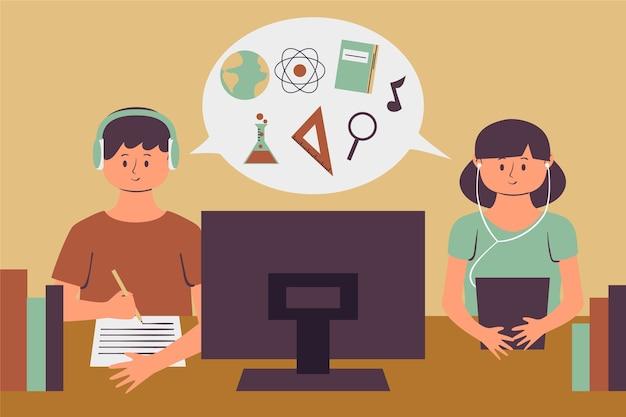 Crianças estudando lições online