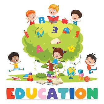 Crianças estudando na árvore