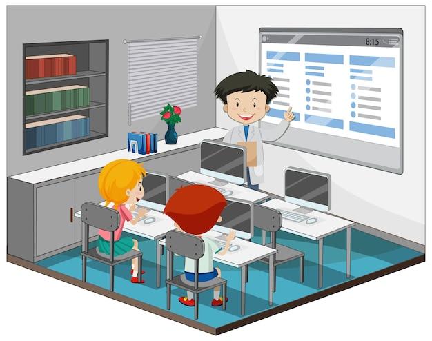 Crianças estudando na sala de informática com um professor