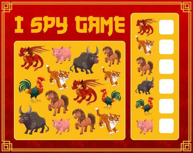 Crianças eu espio jogo com animais do calendário chinês