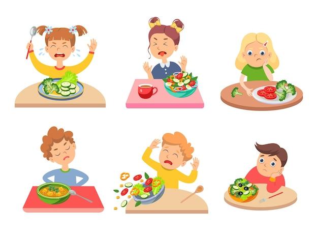 Crianças exigentes recusando comida saudável