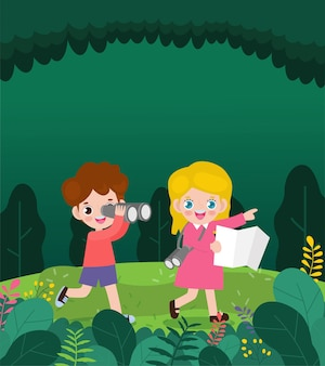 Crianças explorando a ilustração da natureza