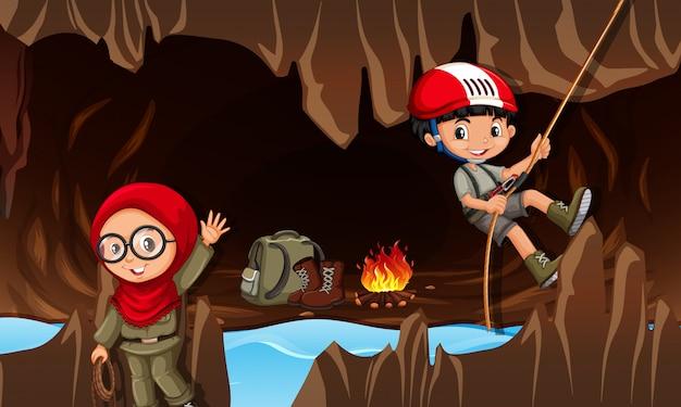 Crianças, explorar, a, caverna