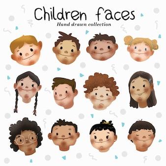 Crianças, faces-, mão, desenhado, cobrança