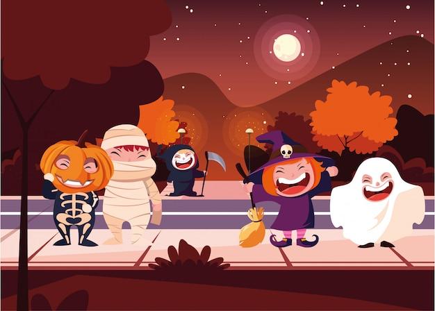 Crianças fantasiadas de halloween