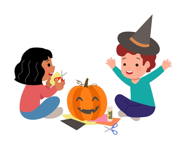 Crianças fazendo artesanato de papel e cola para a festa de halloween. menino do jardim de infância e menina decorando a abóbora para a lição de casa de arte da escola. fundo.
