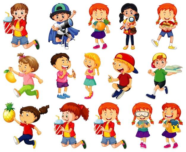 Crianças fazendo atividades diferentes com personagens de desenhos animados em fundo branco