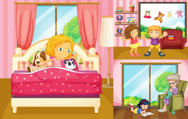 Crianças fazendo atividades diferentes em casa
