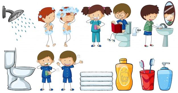 Crianças fazendo diferentes atividades de rotina