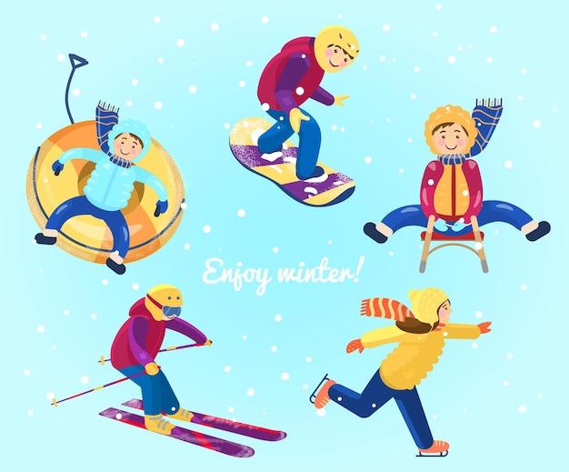 Crianças fazendo diferentes esportes de inverno tubulação de neve, snowboard, esqui, patinação no gelo, trenó