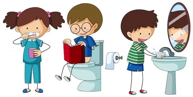 Crianças fazendo diferentes rotina no banheiro