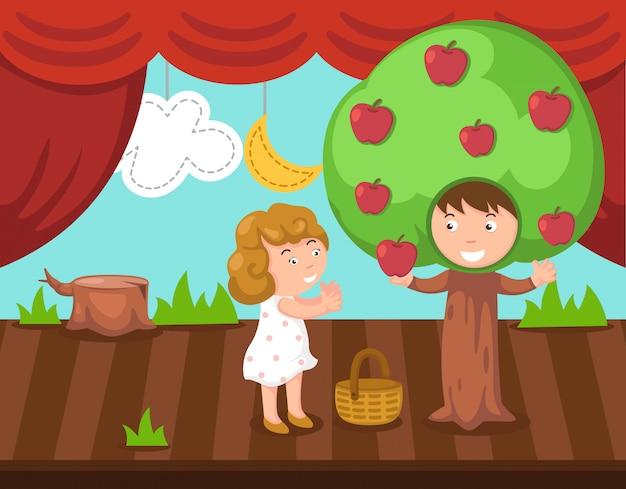 Crianças fazendo drama de palco