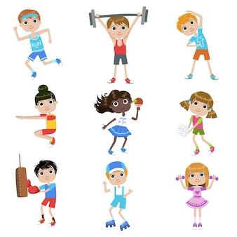 Crianças fazendo esportes conjunto