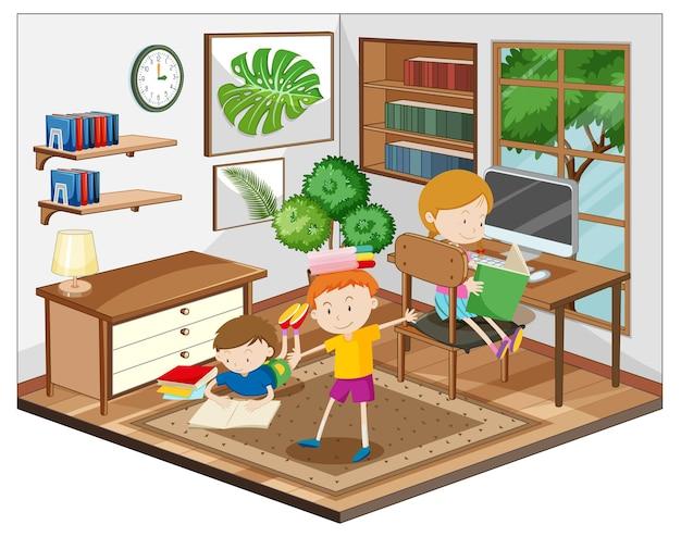 Crianças fazendo lição de casa na cena da sala