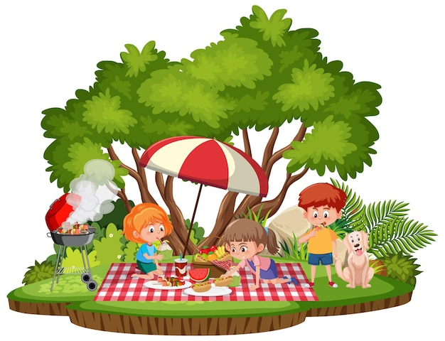 Crianças fazendo piquenique no parque isoladas