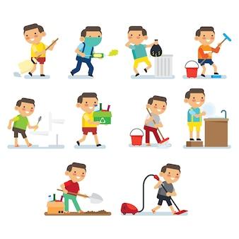 Crianças fazendo série de trabalhos domésticos. crianças fazendo hábitos saudáveis e atividades de higiene na série de cartazes da casa.