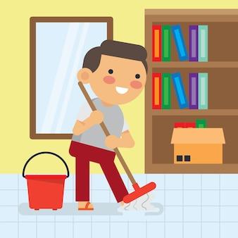 Crianças fazendo série de trabalhos domésticos.