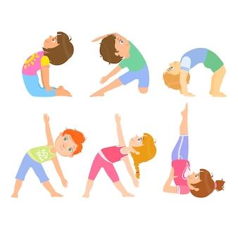 Crianças fazendo simples poses de ioga