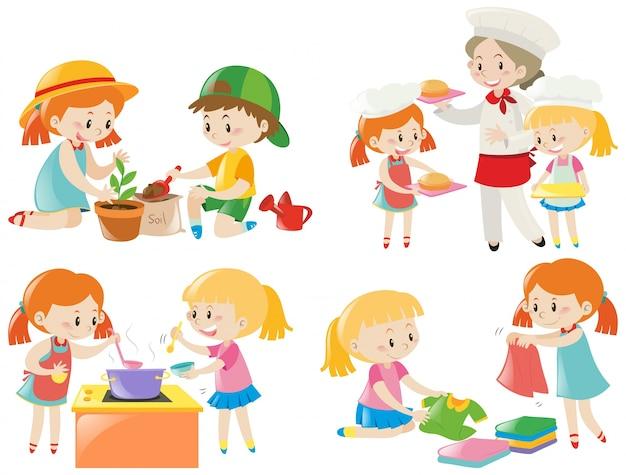 Crianças fazendo tarefas diferentes
