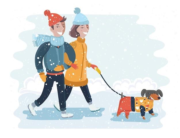 Crianças fazendo um boneco de neve em um dia ensolarado ilustração vetorial