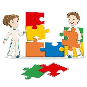 Crianças, fazendo, um, jigsaw