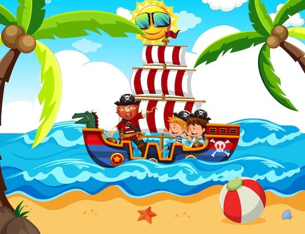 Crianças fazendo um tour pirata