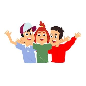 Crianças felizes abraçam e acenam as mãos.