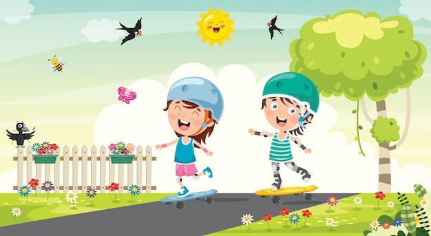 Crianças felizes andando de skate lá fora