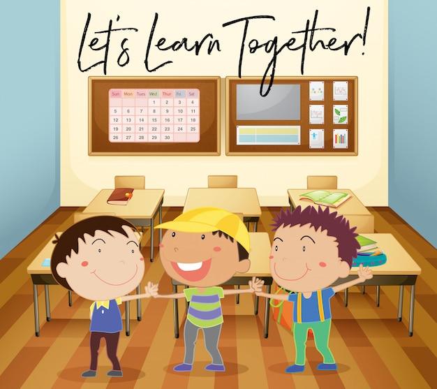 Crianças felizes aprendem em sala de aula