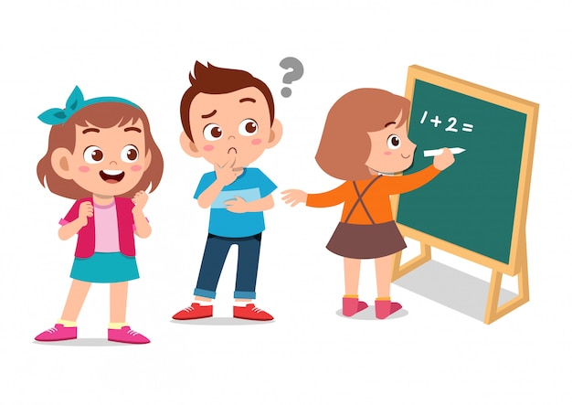 Crianças felizes, aprendendo matemática