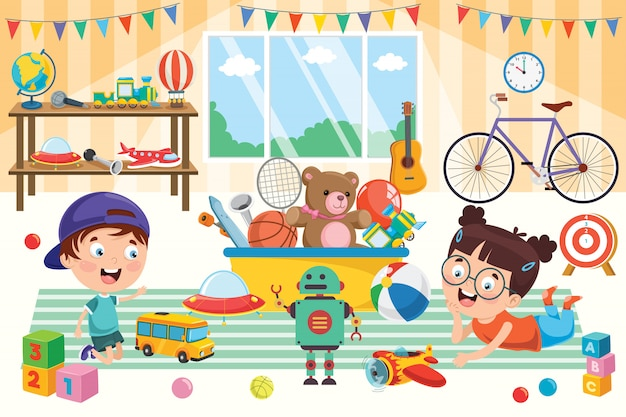 Crianças felizes brincando com brinquedos