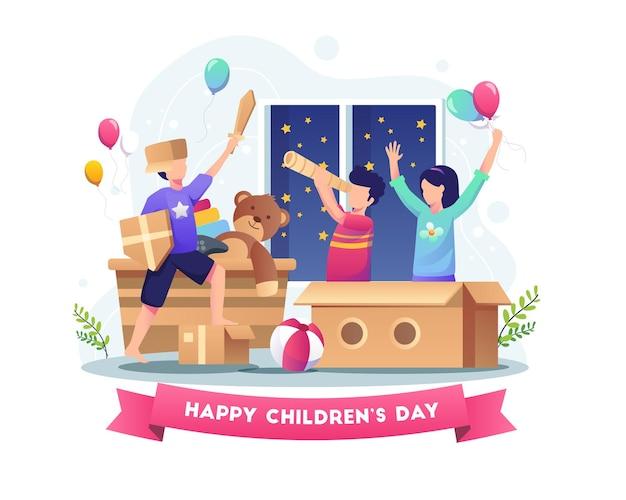 Crianças felizes brincando com papelão e brinquedos na ilustração do dia mundial da criança