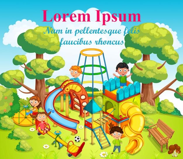 Crianças felizes brincando e se divertindo no playground no meio do parque. ilustração.