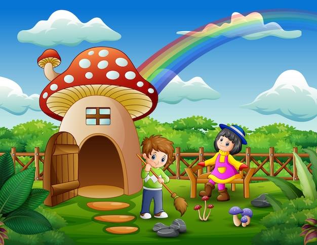 Crianças felizes brincando na casa da fantasia