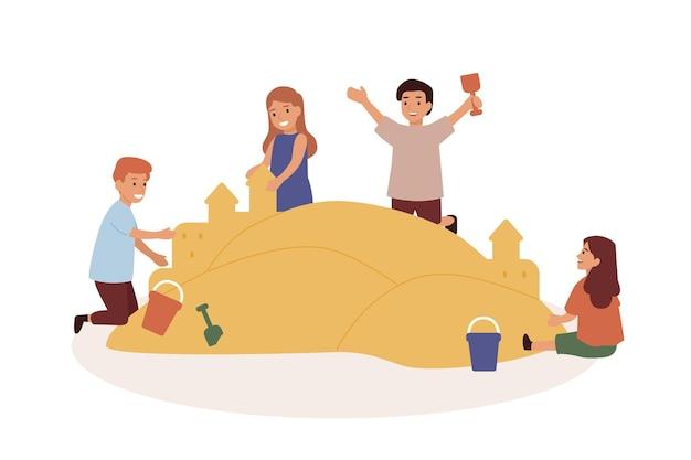Crianças felizes brincando na ilustração plana da caixa de areia