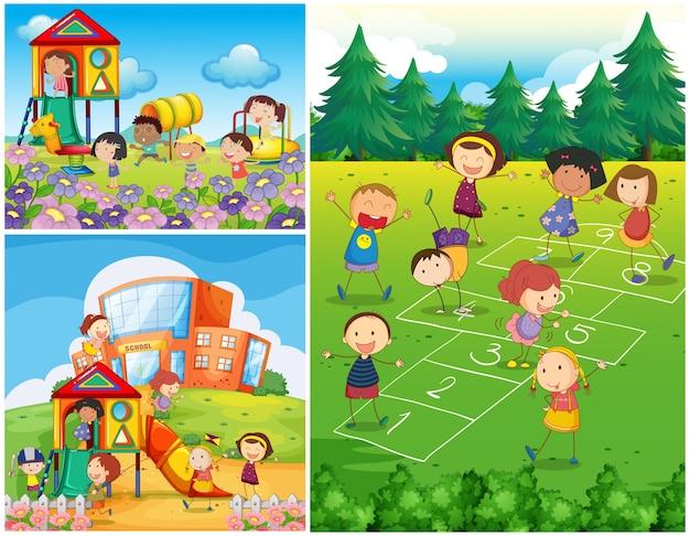 Crianças felizes brincando no parque infantil