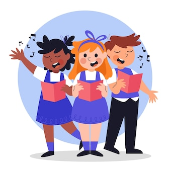 Crianças felizes cantando em um coro