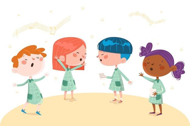 Crianças felizes cantando em uma ilustração de coro