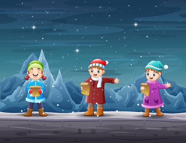 Crianças felizes cantando na paisagem do iceberg