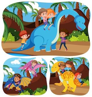 Crianças felizes com animais no fundo da natureza