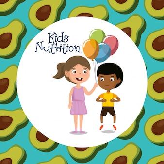 Crianças felizes com comida nutrição
