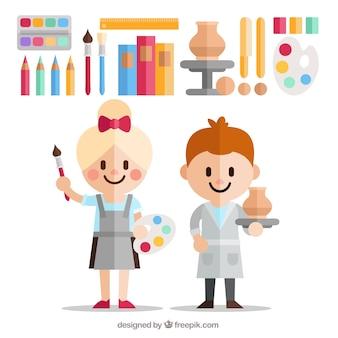 Crianças felizes com equiment artsy no design plano