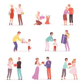 Crianças felizes com presentes dão apresentando em fotos de desenhos animados de festa isolada.
